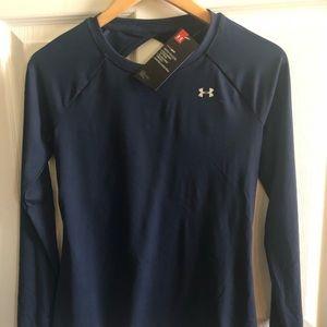 """Under Armour Navy """"heat gear"""" open back shirt"""